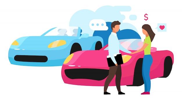 자동차 대리점 그림입니다. 매장에서 새로운 자동차를 구입. 제품 전문가, 컨설턴트 조언. 고객 및 판매자, 흰색 배경에 쇼핑 도우미 만화 캐릭터