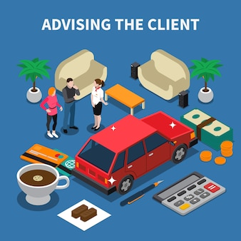 Car dealership isometric composition with conceptual images of car money and human characters with furniture items