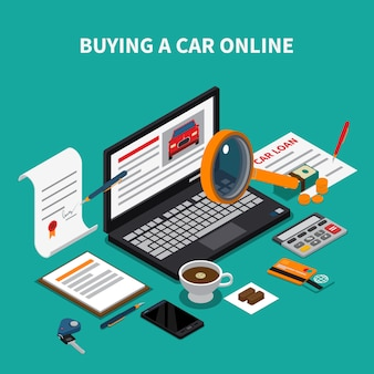 Car dealership isometric composition with text and desktop elements papers and laptop with online automobile store