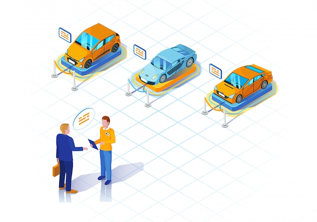 Car dealership isometric illustration