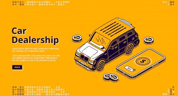 Atterraggio isometrico di concessionaria auto con automobile