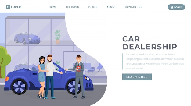 Car dealership landing page vector template