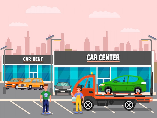 Car dealership, rent center vector illustration