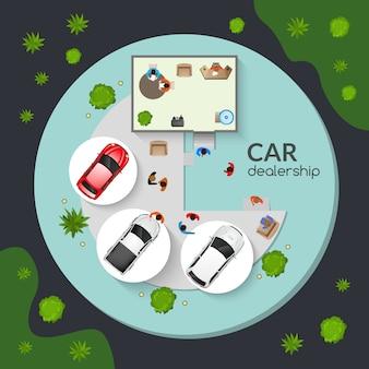 Car dealership top view flat poster