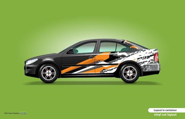 黒のセダン車に抽象的なオレンジ色のストライプをテーマにした車のデカールラップデザイン。