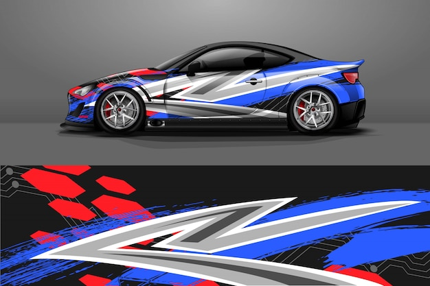 Car decal wrap illustration
