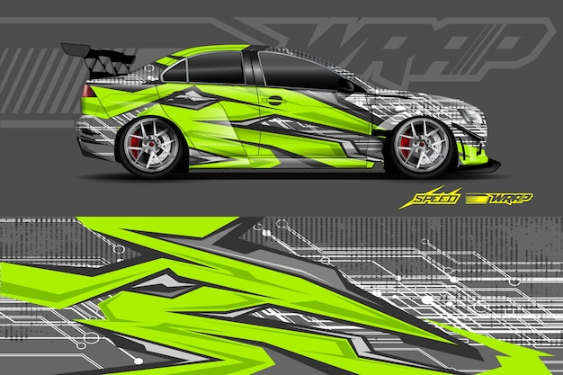 Car decal wrap illustration