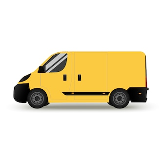A car delivery. isolated on white background  delivery . flat style side view. profile.