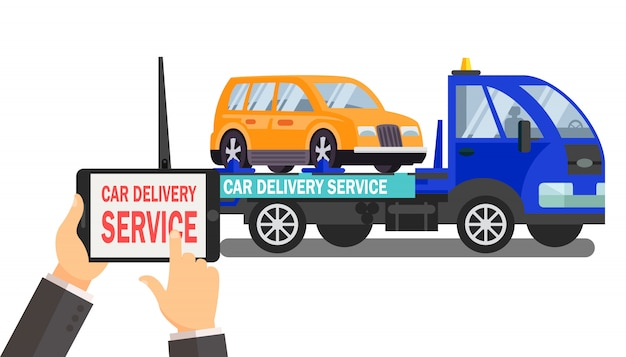 Car delivery service vector color illustration