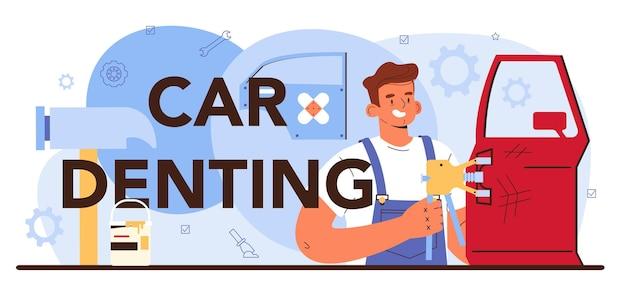 자동차 덴팅 인쇄 상의 헤더입니다. 차고에서 자동차를 고쳤습니다. 제복을 입은 정비사가 차량을 점검하고 수리합니다. 교정 및 자동차 서비스. 평면 벡터 일러스트 레이 션.