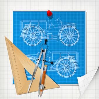 Car design blueprint layout