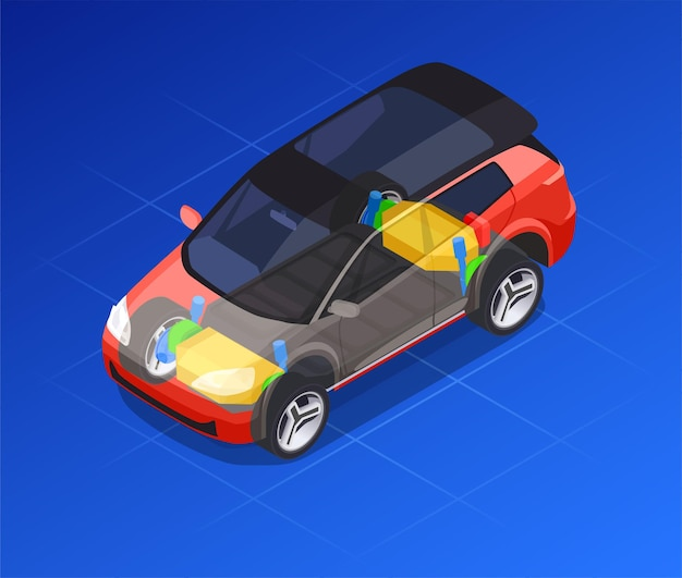 Car design with drafting and modeling isometric illustration