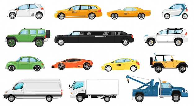 Car  . different automobiles side view. isolated hatchback, cuv, van, supercar, tow truck, taxi, limousine, suv car vehicle icon collection. city auto motor transport models and transportation