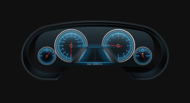 Car digital dashboard screen with glowing blue speedometer, tachometer, fuel level, engine temperature indicators scales realistic