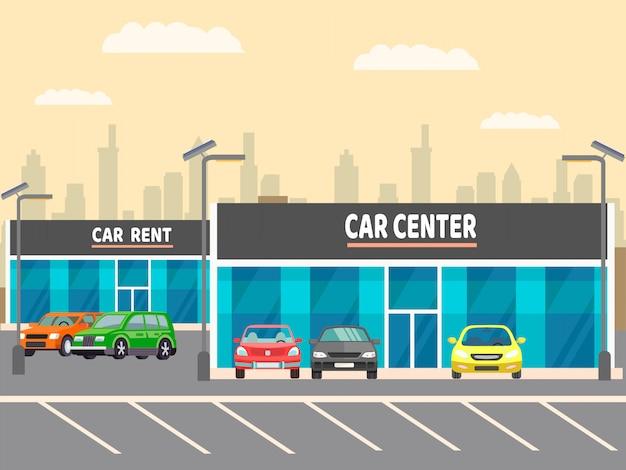 Car distribution, rent center vector illustration