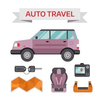 평면 아이콘 및 정비사 장비와 자동차 드라이브 서비스 요소 개념.