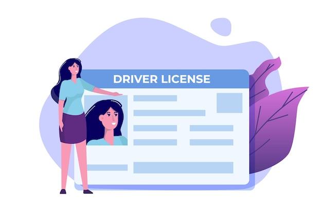 자동차 운전 면허증 개념.