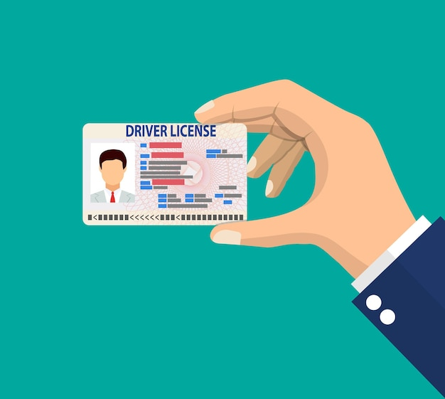 Car driver license identification card in hand
