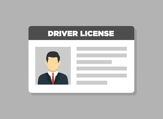 Car driver license identification with photo man icon