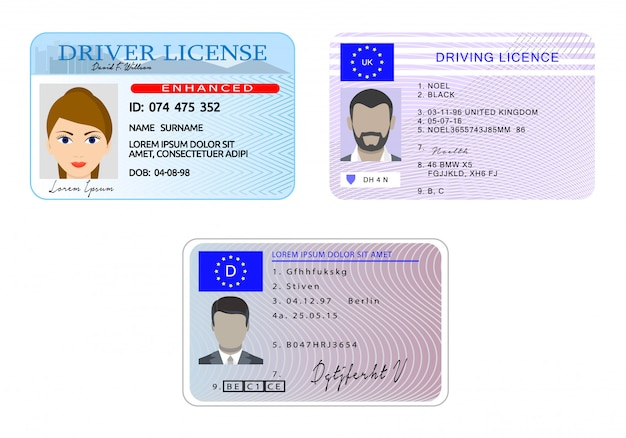 Car driver license with photo vehicle identity banner horizontal concept set.