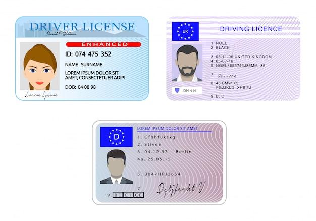Водительские права автомобиля с фото транспортного средства личность баннер горизонтальной концепции набора. Premium векторы