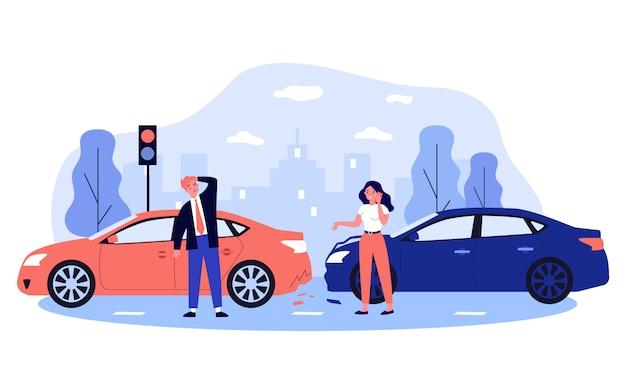도시 거리에서 사고로 자동차 운전자