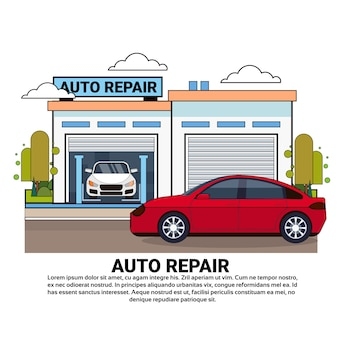 Car driving to auto repair service garage