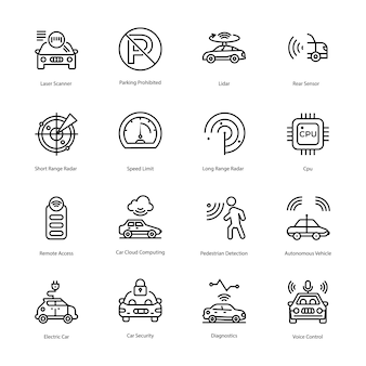 Car driving line icons