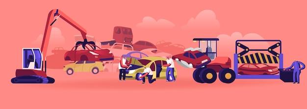 Концепция свалки автомобилей. коготь промышленного крана захватывает старую машину для вторичной переработки, символы утилизации автомобилей разборка авто на металлолом отложенные детали и колеса. мультфильм люди векторные иллюстрации