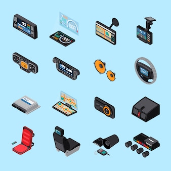 Car electronics icons set