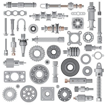 Car engine, machine spare parts, mechanism steel bolts and nuts, bearing, cogwheel and spring absorbers