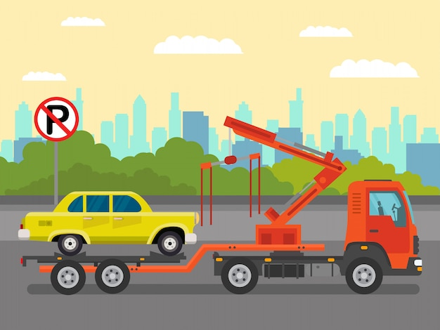 Car evacuation service flat color illustration