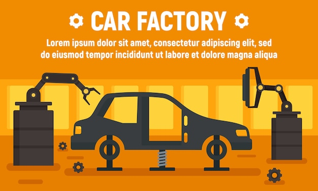 Car factory assembly line banner, flat style
