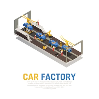 Car factory isometric composition
