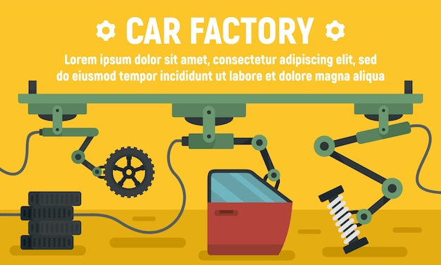 Car factory parts banner, flat style