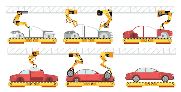 Car factory robotic automotive assembly line with automobiles conveyor for car assembly manufacturing concept