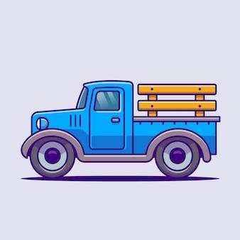 자동차 농장 만화 벡터 아이콘 그림입니다. 농장 교통 아이콘 개념 고립 된 벡터입니다. 플랫 만화 스타일