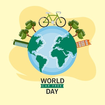 Car free day campaign with planet