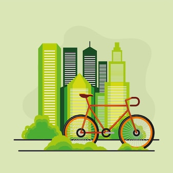 Car free day city and bike