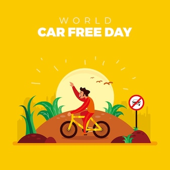 Car free day concept in the city in the morning
