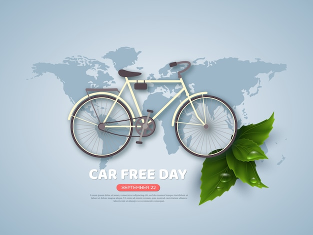 Car free day holiday banner or poster. paper cut style bicycle, realistic leaves with water drops. world map blue color background, vector illustration.