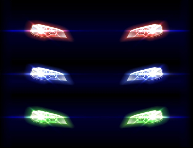 Car front lights in different color shades on black