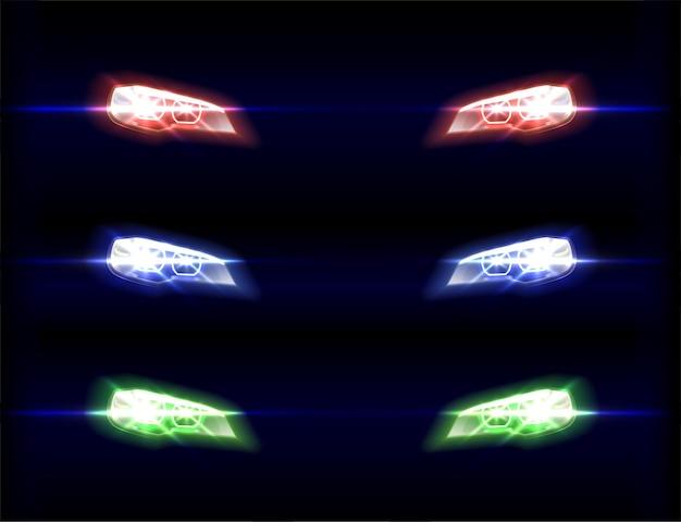 Передние фары автомобиля в разных цветовых оттенках на черном