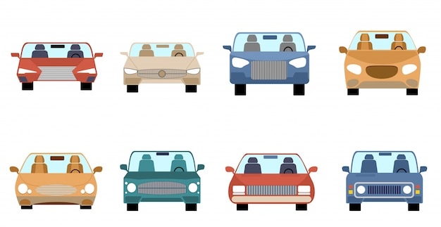 車のフロントビュー。 。異なる構成スタイルの車のバンドル。現代の自動車や自動車のセット。図。