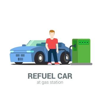 Процесс заправки автомобильным топливом на азс. молодой человек и кабриолет. плоский стиль современной профессиональной работы связанные объекты на рабочем месте человек. люди на сборе работы.