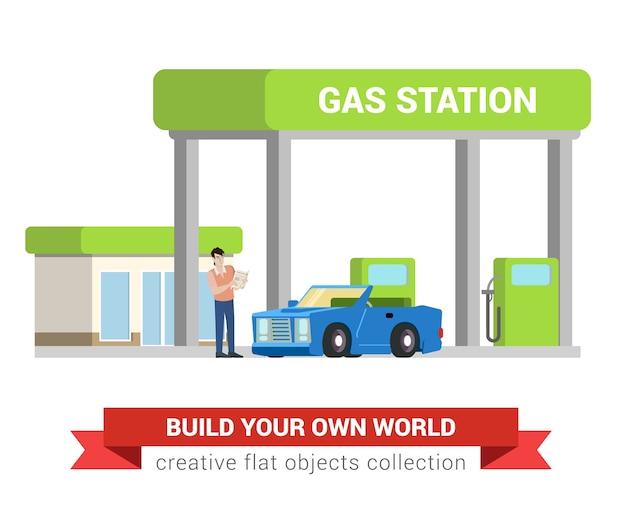ガス給油所での自動車燃料補給プロセス。若い男とカブリオレ。フラットスタイルの現代のプロの仕事に関連する男性の職場のオブジェクト。職場の人々のコレクション。