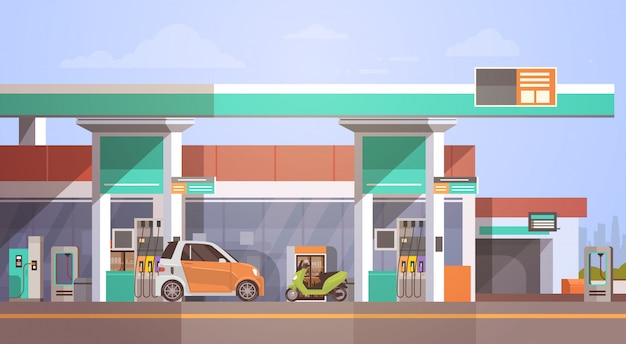 Car fueling at gas petrol station