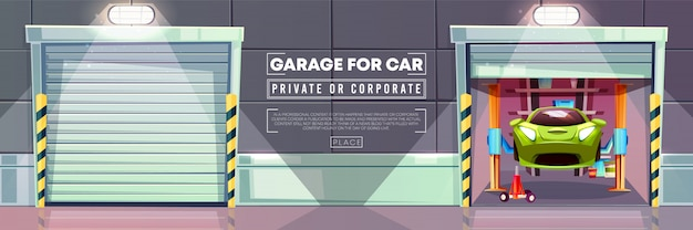 Car garage auto mechanic vehicle lift and roller shutters illustration.