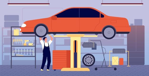 車のガレージ。自動車修理サービス、工具設備を備えたワークショップステーション。整備士の整備車両、ベクトル図の輸送チェック。ワークショップメカニックオート、メンテナンス、チェック