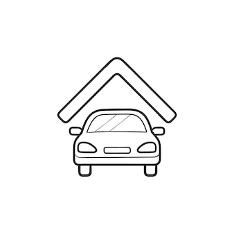 Car garage hand drawn outline doodle icon. car under roof, parked car, home or house garage concept
